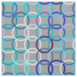Mid-Century Modern circles, grey, blue and white Fabric