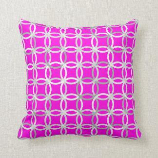 Mid-Century Modern circles, magenta, gray & white Throw Pillow