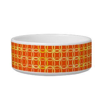 Mid-Century Modern circles, mandarin orange Pet Water Bowls