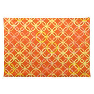 Mid-Century Modern circles, mandarin orange Placemat