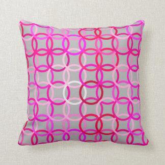 Mid-Century Modern circles, pink, magenta and grey Throw Pillow