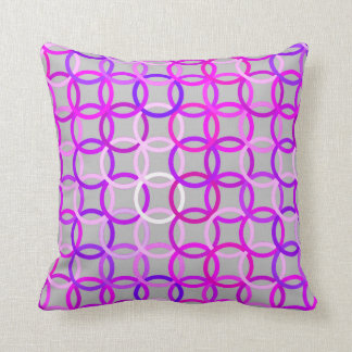 Mid-Century Modern circles, pink, violet and gray Throw Pillow
