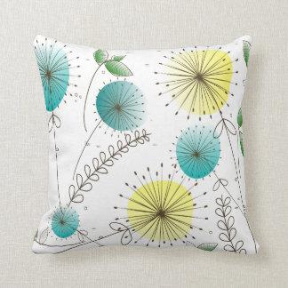 Mid-Century Modern Dandelion Clocks Blue Yellow Throw Pillow