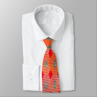 Mid-Century Modern Diamond Print, Coral Orange Tie
