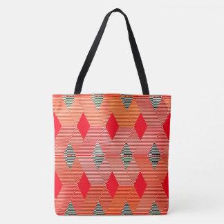 Mid-Century Modern Diamond Print, Coral Orange Tote Bag