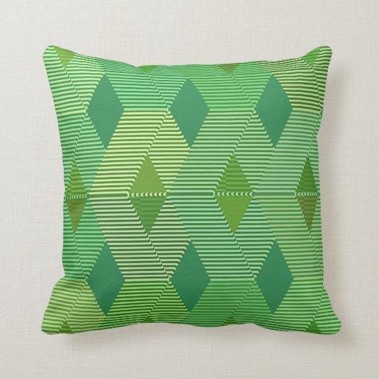 Mid-Century Modern Diamond Print, Jade Green Throw Pillow