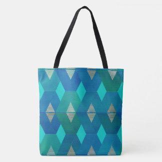 Mid-Century Modern Diamond Print, Turquoise Tote Bag