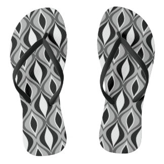 Mid-Century Modern Diamonds, Black, White and Gray Flip Flops