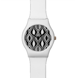Mid-Century Modern Diamonds, Black, White and Gray Wristwatch