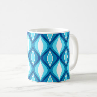 Mid-Century Modern Diamonds, Denim Blues Coffee Mug
