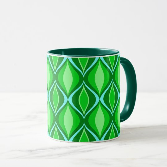Mid-Century Modern Diamonds, Emerald Green Mug