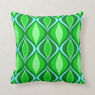 Mid-Century Modern Diamonds, Emerald Green Throw Pillow
