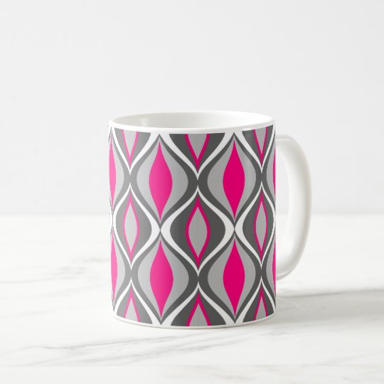 Mid-Century Modern Diamonds, Fuchsia and Grey Coffee Mug
