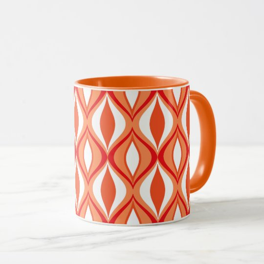 Mid-Century Modern Diamonds, Orange & White Mug