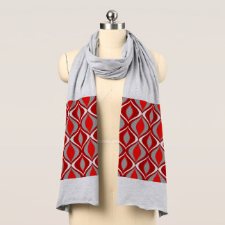 Mid-Century Modern Diamonds, Red & Gray / Grey Scarf