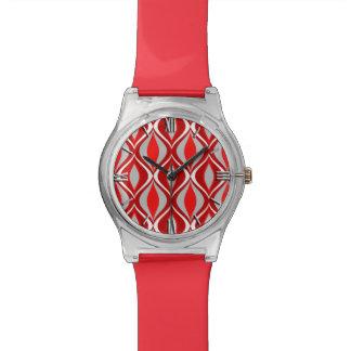 Mid-Century Modern Diamonds, Red & Gray / Grey Wristwatches
