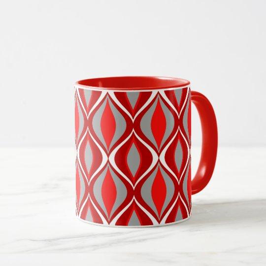 Mid-Century Modern Diamonds, Red & Grey / Grey Mug
