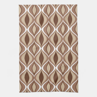 Mid-Century Modern Diamonds, Taupe and Brown Kitchen Towels