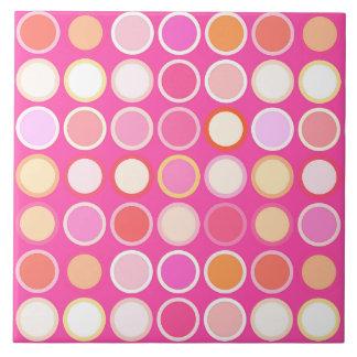 Mid-Century Modern Dots - deep pink & multi Tile