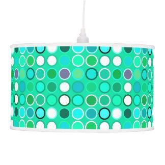 Mid-Century Modern Dots - shades of aqua Hanging Pendant Lamps