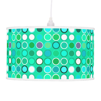 Mid-Century Modern Dots - shades of aqua Pendant Lamp