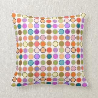 Mid-Century Modern Dots - white with multi Throw Pillow
