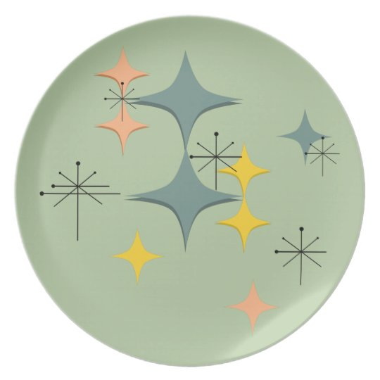 Mid Century Modern Eames Atomic Starbursts Custom Plate