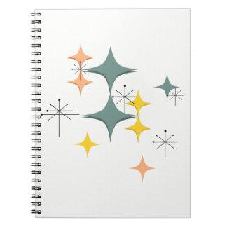 Mid Century Modern Eames Atomic Starbursts Custom Spiral Notebook