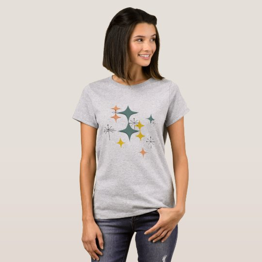 Mid Century Modern Eames Atomic Starbursts Pattern T-Shirt