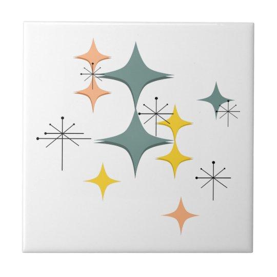 Mid Century Modern Eames Atomic Starbursts Pattern Tile