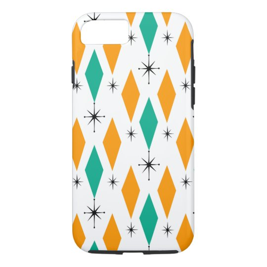 Mid Century Modern Era Diamonds Orange Turquoise iPhone 8/7 Case