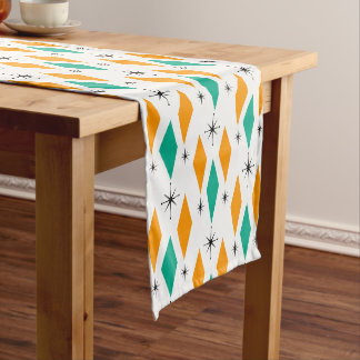 Mid Century Modern Era Diamonds Orange Turquoise Long Table Runner