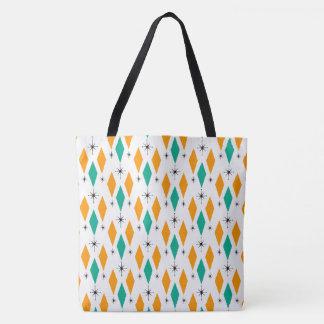 Mid Century Modern Era Diamonds Orange Turquoise Tote Bag