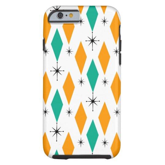 Mid Century Modern Era Diamonds Orange Turquoise Tough iPhone 6 Case
