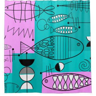 Mid-Century Modern Fish Art Pink Blue