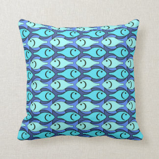 Mid-Century Modern fish, blue and aqua Throw Pillow