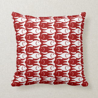 Mid-Century Modern fish, dark red and white Throw Pillow