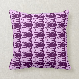 Mid-Century Modern fish, orchid and purple Throw Pillow