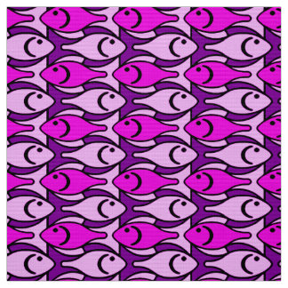 Mid-Century Modern Fish, Orchid Pink and Violet Fabric