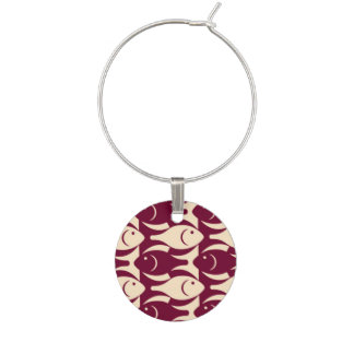 Mid-Century Modern fish, peach and maroon Wine Charms