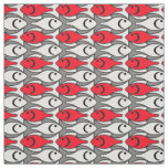 Mid-Century Modern fish, red and grey / grey Fabric