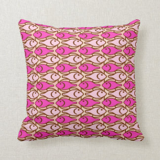 Mid-Century Modern fish, shades of coral Throw Pillow