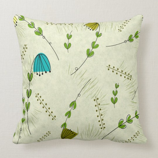 Mid-Century Modern Flower Clocks Light Green Throw Pillow