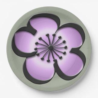Mid-Century Modern Flower - Purple, Black, Grey 9 Inch Paper Plate