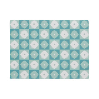 Mid Century Modern Geometric Flowers Door Mat
