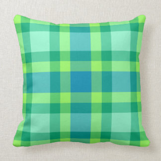 Mid-Century Modern Large Plaid, Jade green & Blue Throw Pillow