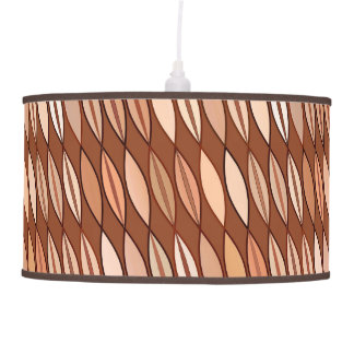 Mid Century Modern Leaves, Cocoa Brown and Beige Pendant Lamp