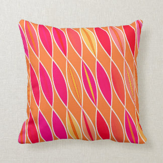 Mid Century Modern Leaves, Fuchsia Pink and Orange Throw Pillow