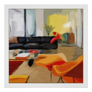 Mid Century Modern Living Room Poster