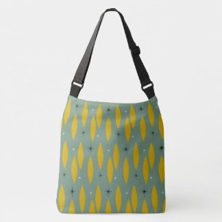 Mid Century Modern Ovals, Starbursts, Gold on Teal Crossbody Bag